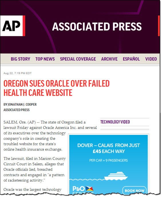 (AP) Orgeon sues Oracle...