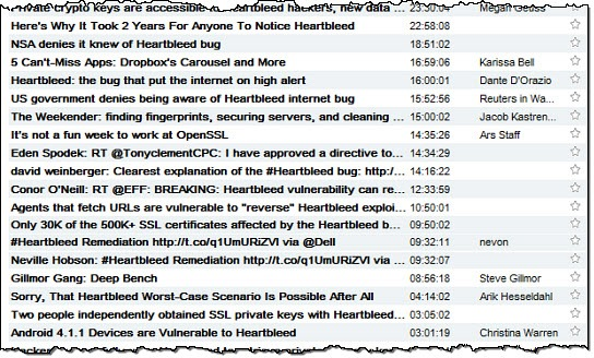 Heartbleed in RSS feed