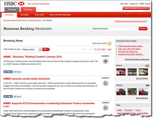 HSBC looks towards 'banking 2 0' with social media newsrooms