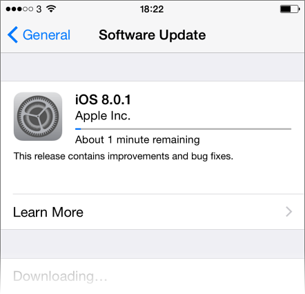 iOS 8.0.1 downloading