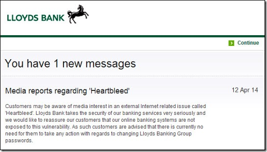 Lloyds Bank Heartbleed message
