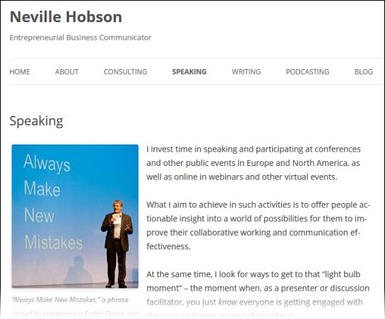 Neville Hobson business website