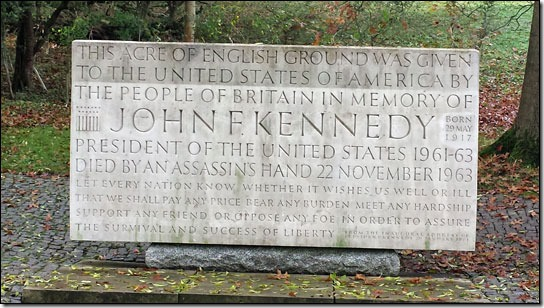 Kenney memorial stone at Runnymede