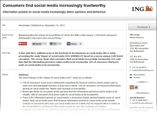 Good Example Of A Social Media Press Release From Ing