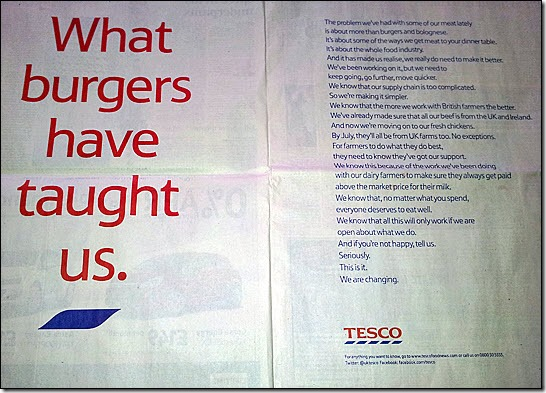 Tesco double-page spread in the Telegraph, March 2, 2013